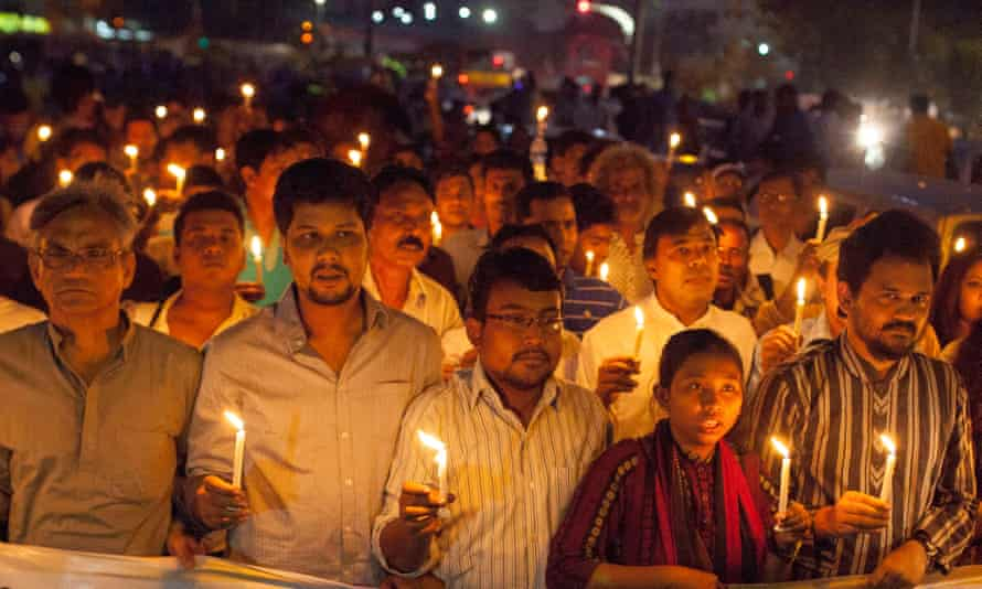A vigil for previous victims of killings in Bangladesh by suspected religious extremists.