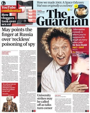 Guardian front page, Tuesday 13 March 2018