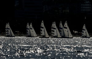 Competitors in action during the three person keelboat (sonar) sailing in Guanabara Bay