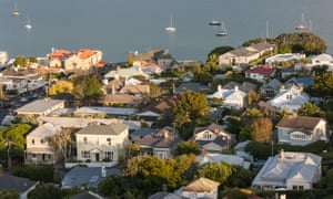 Aerial view of houses in Devonport, New Zealand