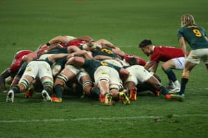 Conor Murray of the British & Irish Lions puts the ball in the scrum.