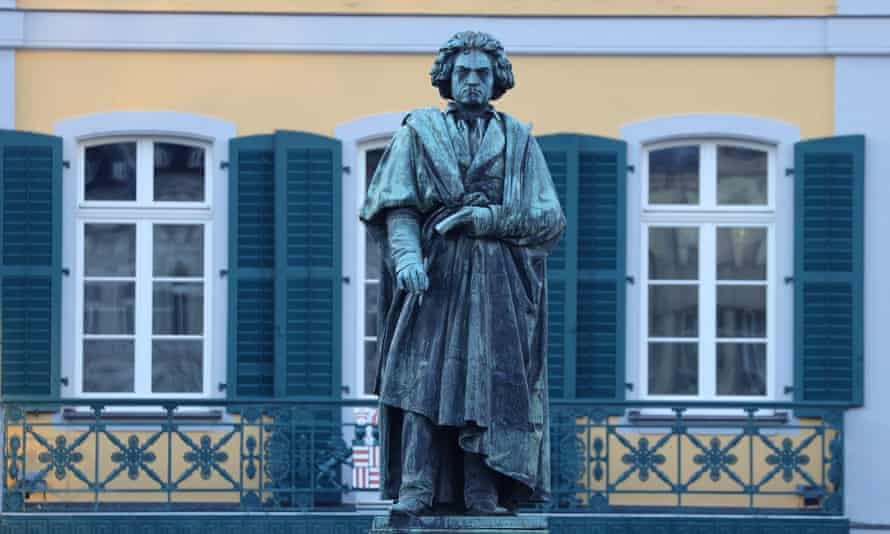 A statue of Ludwig van Beethoven in Bonn, Germany, which is celebrating his 250th birthday.