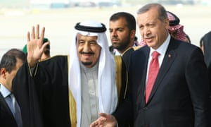Recep Tayyip Erdoğan and King Salman bin Abdulaziz Al Saud