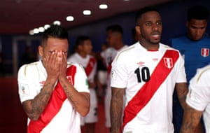 Peru's Christian Cueva reacts in the tunnel at half time, after missing a penalty at the end of the first half.