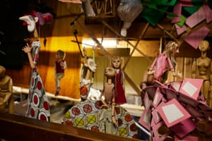 Marionnettes are stored hanging up in the backstage area at the Little Angel theatre