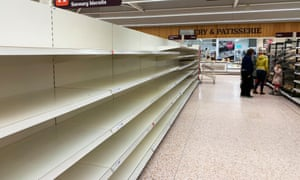 Empty Shelves at Sainsbury's in Scarborough.