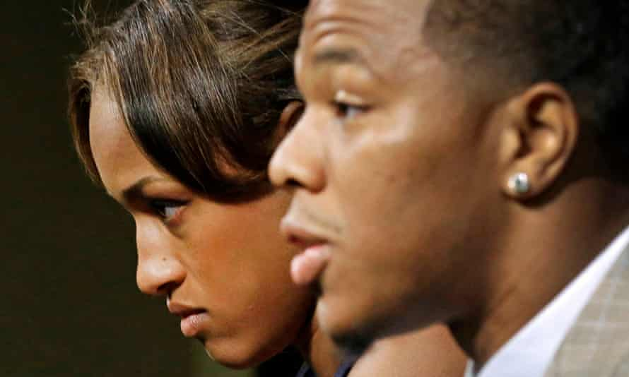 Janay Rice, left, looks on as her husband, Baltimore Ravens running back Ray Rice, speaks to the media during a news conference in Owings Mills.