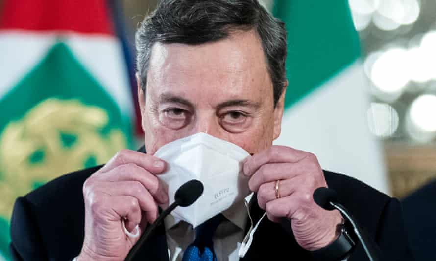 Mario Draghi accepting his mandate as prime minister in Rome on Wednesday.