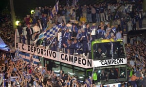 e6dcb0342fb Deportivo La Coruña players celebrate with fans after winning La Liga in  May 2000. Photograph: EPA. Spanish football at the ...