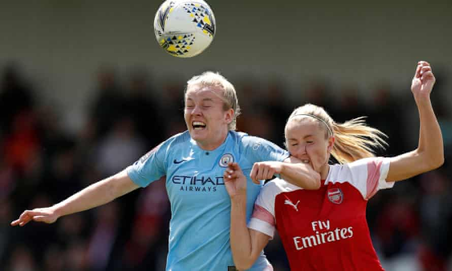 Arsenal take on Manchester City in the Women's Super League at Boreham Wood last season. Such games could be played at men's stadiums in 2019-20.