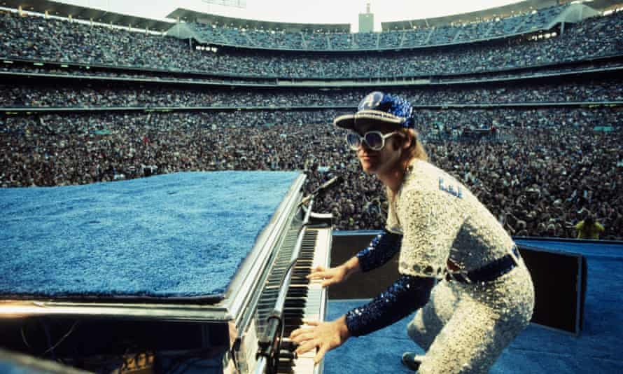 Performing at the Dodger Stadium in Los Angeles, 1975.