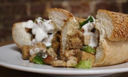 "A vegan ""chicken cheesesteak"" at Govinda's, Philadelphia."