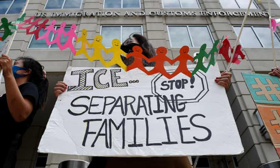 Protesters demand the release of immigrant families in detention centers during the pandemic in Washington DC, on 17 July 2020.
