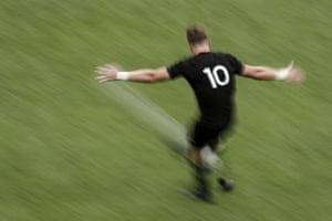 New Zealand fly-half Jordie Barrett kicks a conversion against Namibia at the Tokyo Stadium.
