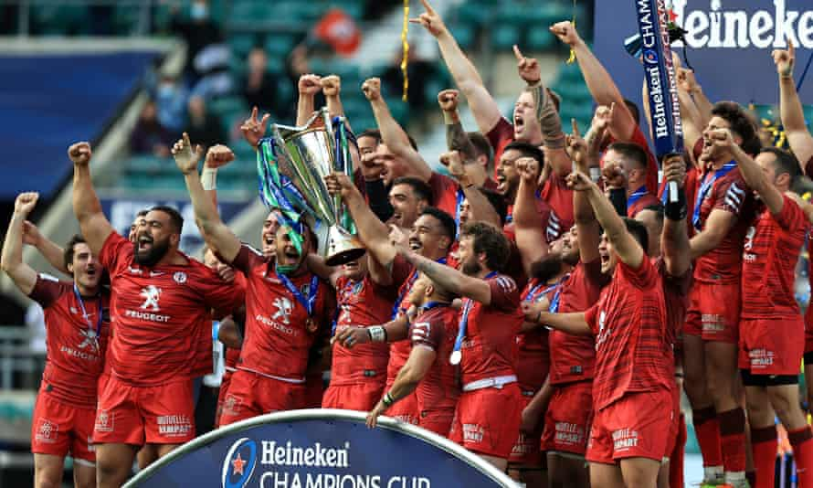 Antoine Dupont and Jerome Kaino lift the Champions Cup after Toulouse's 22-17 victory over La Rochelle at Twickenham.