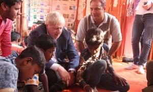 Boris Johnson meets Rohingya refugees at a camp in Bangladesh