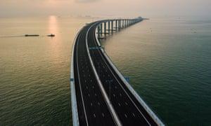 A section of the 55km Hong Kong-Zhuhai-Macau Bridge, the world's longest sea bridge.