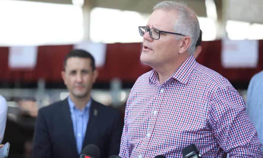 Australian prime minister Scott Morrison is seen during a press conference at Beef Australia Expo 2021 in Rockhampton, Queensland