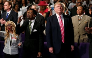 Donald Trump attending a church service in Detroit, Michigan, 3 September 2016