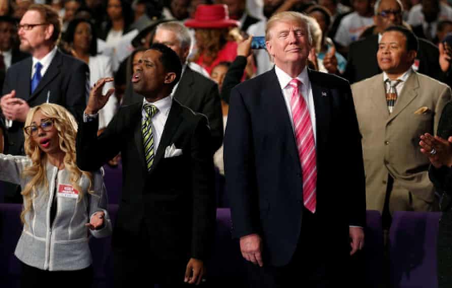Donald Trump attending a church service in Detroit, Michigan, 3 September 2016