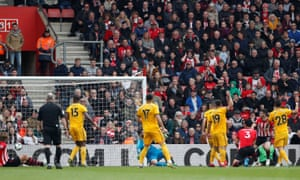 Southampton's Shane Long (second right) scores their third goal.