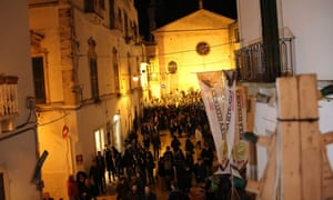 Visitors revel in the foodie streets at Bacco nelle Gnostre, Noci, Italy.