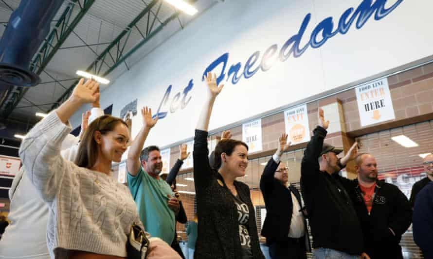 Voters indicate their support for Pete Buttigieg during voting inside the caucus at Liberty high school in Henderson, Nevada.