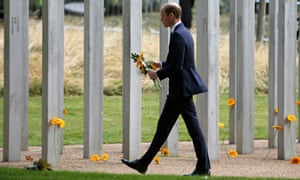 Prince William pays his respects at the memorial to victims of the 7 July 2005 bombings in Hyde Park