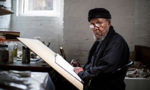 Ibrahim al-Salahi pictured at his Oxfordshire studio ahead of the Tate retrospective in 2013.