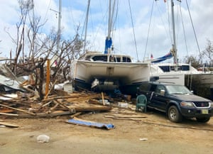 A boat lies amid the damage in the British Virgin Islands. Around 2,000 vessels are believed to have been destroyed.