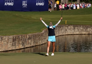 Nelly Korda reacts after putting on the 18th green.
