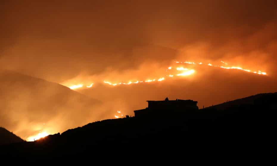 Fire near Saddleworth Moor, close to the town of Diggle.