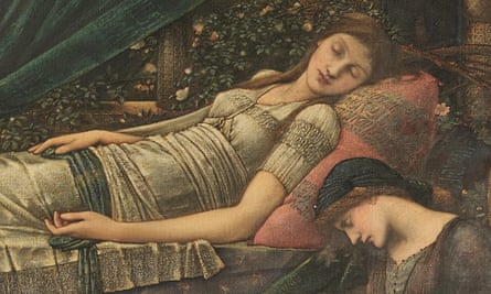 a detail from The Rose Bower by Edward Burne Jones