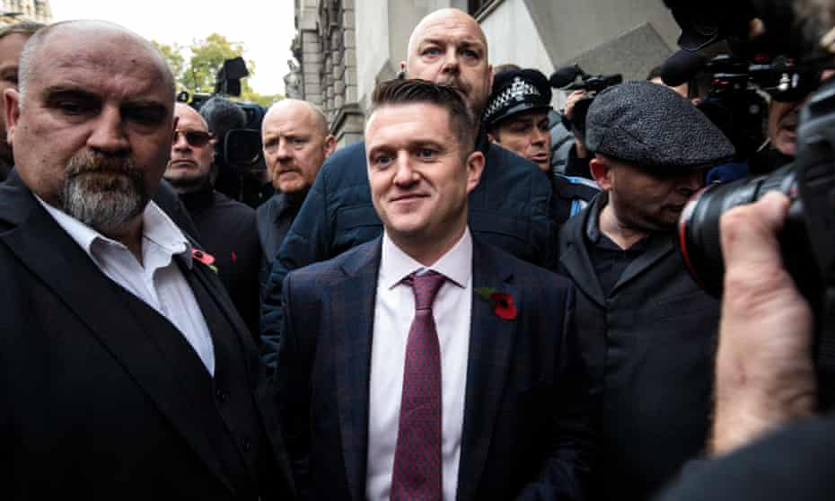 Tommy Robinson arrives at the Old Bailey.