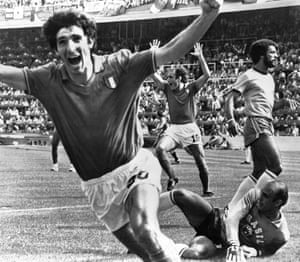 Rossi celebrates his second goal vs Brazil. He went on to net a hat-trick in the 3-2 win.