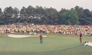 George Archer putts on the 18th at Augusta National in 1969.