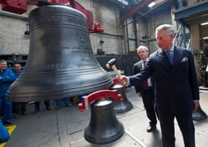 Prince Charles strikes the the royal Jubilee bell named 'Charles' during a visit to the Whitechapel Bell Foundry in 2012. The Jubilee bells – named Elizabeth, Philip, Charles, Anne, Andrew, Edward, William and Henry – were rung from a floating belfry at the head of the Thames pageant.
