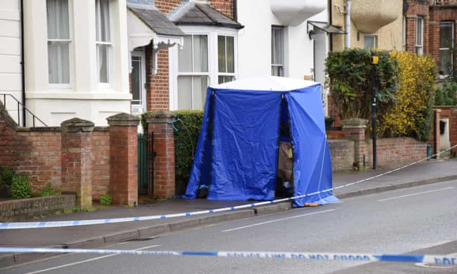 A police tent has been erected at the scene.