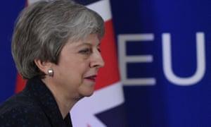 Theresa May at her press conference at the EU summit last night.