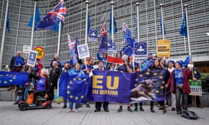 Anti-Brexit campaigners holding a protest outside the European Commission HQ in Brussels this morning.