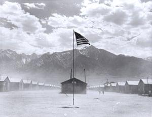 Dust storm at Manzanar War Relocation Authority Center, 1942.