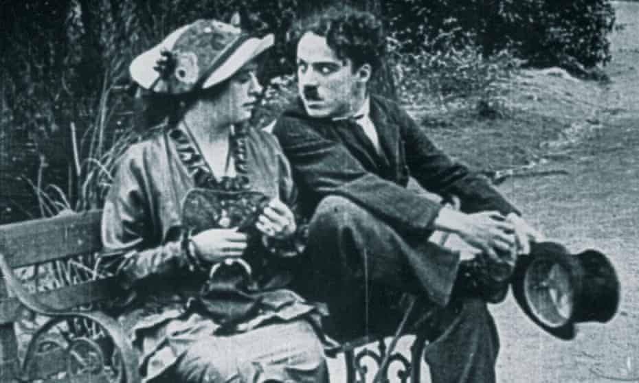 Mabel Normand with Charlie Chaplin in the Keystone silent movie Mabel's Married Life, 1914.
