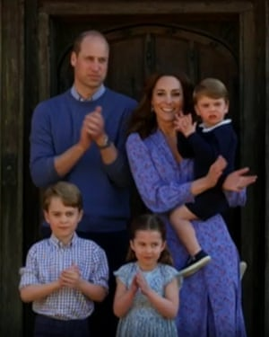 William, Kate and kids clap