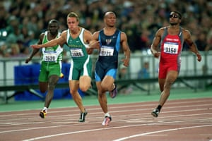 American Maurice Greene comes in first with Matt Shirvington and Ato Boldon close behind during the men's Semi-Finals 100m event.