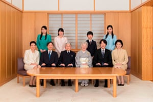 Front left to right: Crown Princess Masako, Crown Prince Naruhito, Emperor Akihito, Empress Michiko, Prince Akishino, Princess Kiko, and (back left to right) Princess Mako, Princess Aiko, Prince Hisahito, and Princess Kako in December 2018
