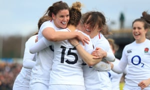 England celebrate their emphatic victory over France.