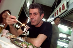 Anthony Bourdain's first television series, A Cook's Tour, began in 2002. He is seen here in Singapore during the tour