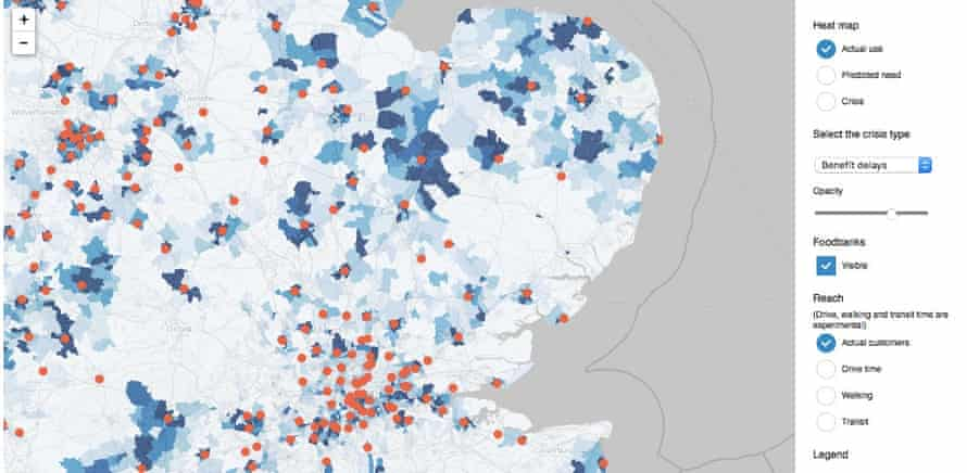 Trussell Trust graphic, mapping the use of food banks in south-east England
