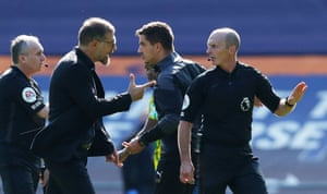 Slaven Bilic remonstrates with Mike Dean before being sent off.