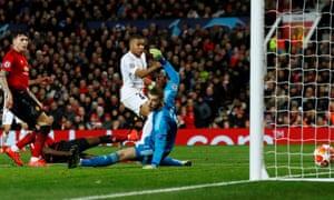 Kylian Mbappé scores PSG's second goal.